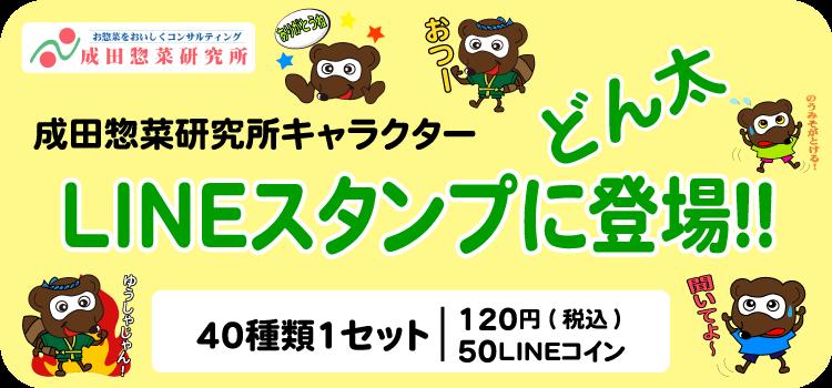 どん太LINEスタンプ成田惣菜研究所キャラクター